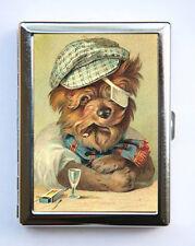 Yorkie Smoking Cigarette Case Wallet Business Card Holder anthropomorphic kitsch