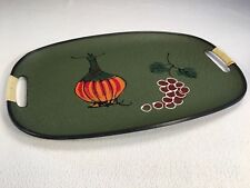 """Vintage 1960s Wine Serving Tray 17.5""""x 11.5"""" Made in Japan With Handles Green"""