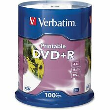 Verbatim DVD+R 16x 4.7GB Inkjet Printable Spindle 100/PK White 95145
