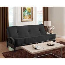 "Black Full Size 8"" Futon Mattress & Futon Frame Set Home Living Room Furniture"
