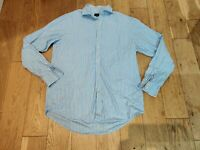 JAEGER Tailored Mens Baby Blue Long Sleeve Shirt Size 16'' Collared Long Sleeve