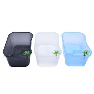 Reptile Vivarium Box for Turtle Tortoise Feeding Box with Basking Platform T.bu