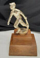 Vintage Baseball Trophy Metal With Wood Base