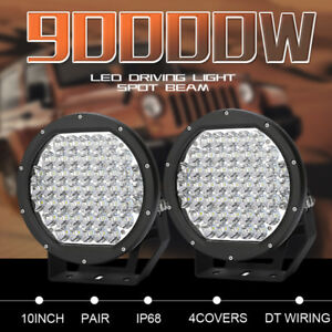 """2"""" 10inch 90000W Round Black Cree Led Driving Spot Work Lights Offroad 4x4 Truck"""
