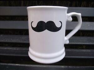 White Ceramic Mug Tankard Handlebar Moustache Print