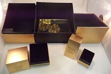 Lot of 3 Gold Black Color Make Up Jewelry Boxes Tray Storage Canister Container