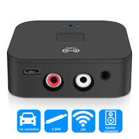 Bluetooth5.0 Receiver Wireless 3.5mm Jack AUX NFC to 2 RCA Audio Stereo Adapter#