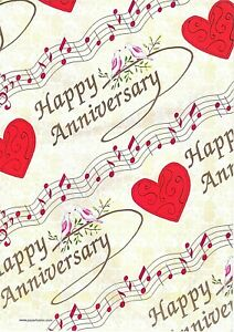 Happy Anniversary Gift Wrap Wrapping Paper 2 Sheets 2 Tags Red Heart Music Doves