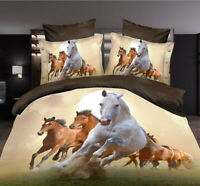 3D Flower Queen King Size Bed Quilt/Duvet Sheet Cover 4PC Set Horses
