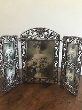 Triple Hinged Folding Expandable Gothic Rose picture Frame