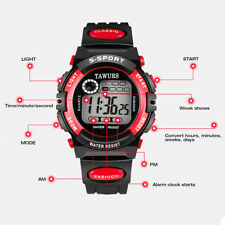 Waterproof Children Boys Sports Watch LED Digital Wristwatch Black Red WOW
