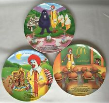 """3 McDonald's Plates Unused 1989 VTG 9 1/2"""" Melamine Plastic Dinner"""