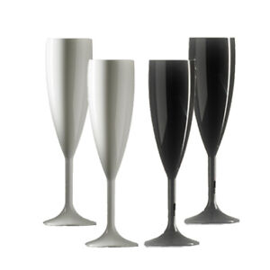 Plastic Polycarbonate Champagne Flutes - Black & White  - Made in UK