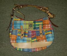 DOONEY & BOURKE Madras Plaid Ants Brown Leather Canvas Shoulder Handbag