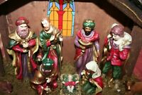 "NATIVITY SCENE, Wood with Ceramic Figurines, HAND MADE & PAINTED, 18"" x 14"" x 7"""