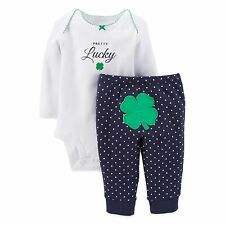 """NEW Carters Baby """"Pretty Lucky"""" 2 PC Set White Blue Polka Dot Green Clover NB"""