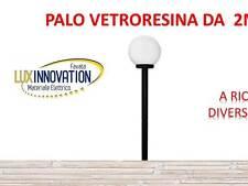 LAMPIONE LAMPADA DA ESTERNO LAMPIONCINO COMPLETO CON PALO 2 METRI E SFERA OPACA