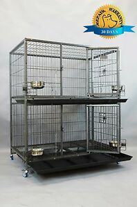 """New 37"""" and 43"""" Two Tier Heavy Duty Metal Dog Cat Pet Crate Kennel Cage w/ Bowls"""