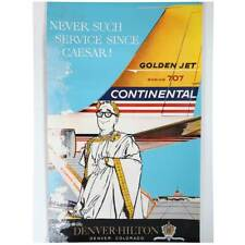 Vintage American Continental Airlines Commercial Airline Ad Poster Denver c.1960