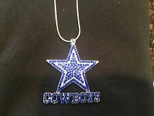 "DALLAS COWBOYS NECKLACE~NFL ~ FOOTBALL CRYSTAL~SPARKLY JEWELRY 22""~"