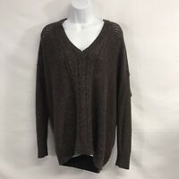 Lane bryant cable knit v neck long sleeve women's pullover sweater 22/24 Brown