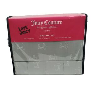 Juicy Couture 6 Piece Gray White Juicy Words Polyester King Sheet Set