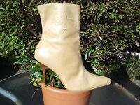 NATURAL TAN DISTRESSED LEATHER ANKLE BOOTS, FLORAL DETAIL SIZE 6