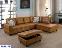 LifeStyle Furniture 3PC Sectional Sofa Set with Free Ottoman,2 Pillows(9517AB)