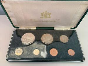1971 TRINIDAD AND TOBAGO 7 COIN SILVER PROOF SET ORIGINAL SET