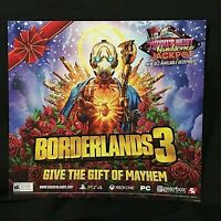 "Borderlands 3 Poster 24"" x 22"" GIVE THE GIFT OF MAYHEM GameStop Promotional Ad"