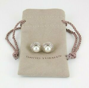David Yurman 925 Sterling Silver Albion Cable Pearl & Diamond Earrings With Bag