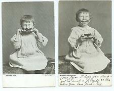 2 Black & White Postcards of Boy with Jam on Bread and Face