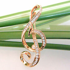 Navachi Music Note 18K Yellow Gold Plated Clear Crystal Pin Brooch BH7519
