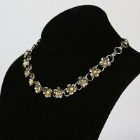 Vintage Gold Tone Rhinestone Flower Motif Choker Necklace
