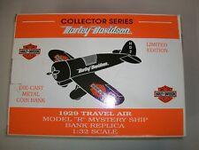 Harley Davidson Die Cast Airplane Bank 1929 Travel Air Plane Model R 99200-93V