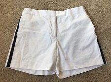 Brooks Brothers Black Fleece Womens Shorts White Textured Tuxedo Stripe Sz L BB4