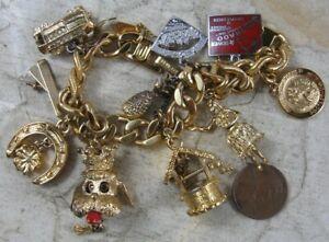 Vintage Charm Bracelet 11 Charms Some Sterling Silver Monet Bracelet