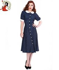 SHEEN RAINA 40s DRESS vintage style POLKA DOT day tea SPOTTED NAVY BLUE