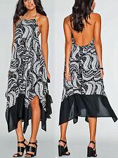 Maxikleid Kleid Abendkleid Gr.44 Neckholder schwarz/weiß/grau Neu 972189