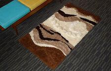 Mid-Century Modern Shag Rug Wool 3-D Sun Spots 33 X 56 Vintage Wall Hanging