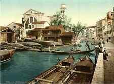 Venezia. Rio di San Trovaso.   Photochrome original d'époque, Vintage photo