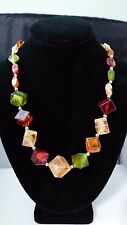 Vintage Lucite Plastic Ice Cube Block Bead Necklace Chunky Retro With Earrings