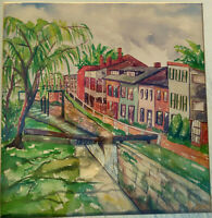 Watercolor Painting Canal Waterfall River Landscape Row Houses Signed Melville