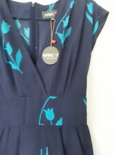 Apricot Sparse.Navy  Blue, Tulip Print Sillky summer Dress.  ( S )