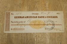 GERMAN AMERICAN BANK OF CHICAGO  - BANK CHECK 1876