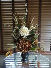 Silk Floral Flower Arrangement Chocolate Brown Hydrangea Cream Dahila