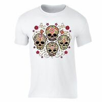 Sugar Skull Day of the Dead T-shirt Black Mexican Flower Dia Los Muertos shirt