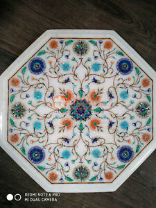 White Marble Decorative Coffee Side Table Top Multi Stone Marquetry Floral Decor