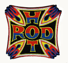 HOT ROD IRON CROSS IRON ON PATCH muscle car psychobilly rockabilly low brow art