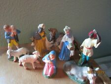NATIVITY 9 Pc  MANGER set Misc Figures Resin  ANtique ITALY Vintage